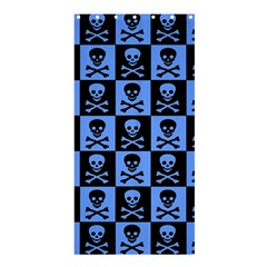 Blue Skull Checkerboard Shower Curtain 36  X 72  (stall)  by ArtistRoseanneJones