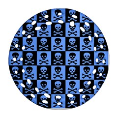 Blue Skull Checkerboard Round Filigree Ornament (2side)