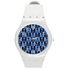 Blue Skull Checkerboard Round Plastic Sport Watch (m) by ArtistRoseanneJones