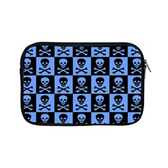 Blue Skull Checkerboard Apple Ipad Mini Zipper Cases by ArtistRoseanneJones
