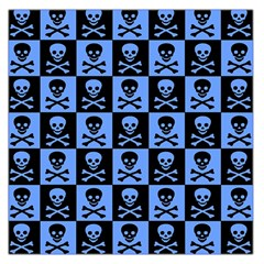 Blue Skull Checkerboard Large Satin Scarf (square) by ArtistRoseanneJones