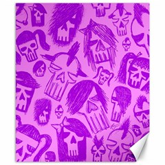 Purple Skull Sketches Canvas 8  X 10  by ArtistRoseanneJones
