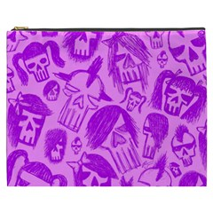 Purple Skull Sketches Cosmetic Bag (XXXL)  by ArtistRoseanneJones