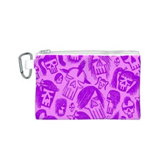 Purple Skull Sketches Canvas Cosmetic Bag (S) by ArtistRoseanneJones