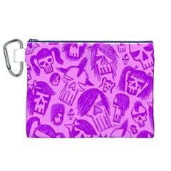 Purple Skull Sketches Canvas Cosmetic Bag (XL)  by ArtistRoseanneJones