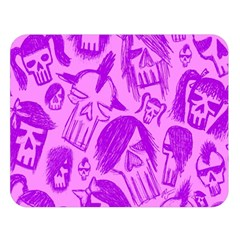 Purple Skull Sketches Double Sided Flano Blanket (large)