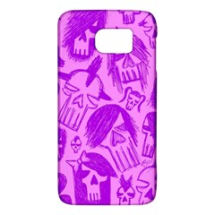 Purple Skull Sketches Galaxy S6 by ArtistRoseanneJones
