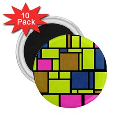 Squares And Rectangles 2 25  Magnet (10 Pack) by LalyLauraFLM
