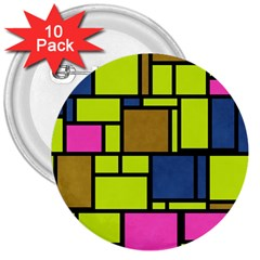 Squares And Rectangles 3  Button (10 Pack) by LalyLauraFLM