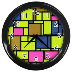 Squares And Rectangles Wall Clock (black) by LalyLauraFLM