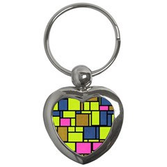 Squares And Rectangles Key Chain (heart) by LalyLauraFLM
