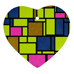 Squares And Rectangles Heart Ornament (two Sides) by LalyLauraFLM