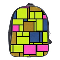 Squares And Rectangles School Bag (large) by LalyLauraFLM
