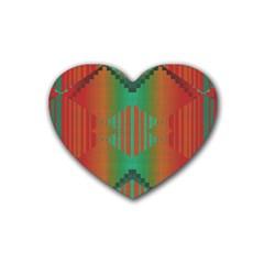 Striped Tribal Pattern Rubber Coaster (heart) by LalyLauraFLM