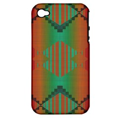 Striped Tribal Pattern Apple Iphone 4/4s Hardshell Case (pc+silicone) by LalyLauraFLM