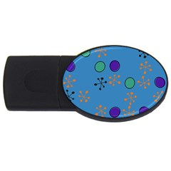 Circles And Snowflakes Usb Flash Drive Oval (4 Gb) by LalyLauraFLM