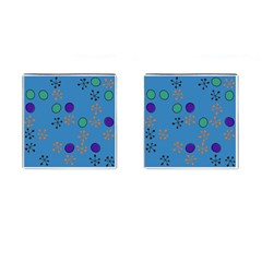 Circles And Snowflakes Cufflinks (square) by LalyLauraFLM