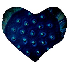 Blue Plant Large 19  Premium Heart Shape Cushions by InsanityExpressedSuperStore