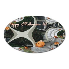Creepy Pumpkin Fractal Oval Magnet by gothicandhalloweenstore