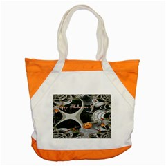 Creepy Pumpkin Fractal Accent Tote Bag  by gothicandhalloweenstore