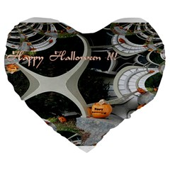 Creepy Pumpkin Fractal Large 19  Premium Heart Shape Cushions by gothicandhalloweenstore