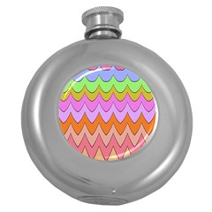 Pastel Waves Pattern Hip Flask (5 Oz) by LalyLauraFLM