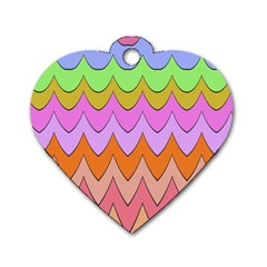 Pastel Waves Pattern Dog Tag Heart (two Sides) by LalyLauraFLM