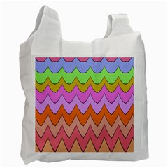 Pastel waves pattern Recycle Bag (Two Side) by LalyLauraFLM