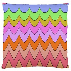 Pastel waves pattern Large Cushion Case (Two Sides) by LalyLauraFLM
