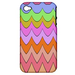 Pastel Waves Pattern Apple Iphone 4/4s Hardshell Case (pc+silicone) by LalyLauraFLM