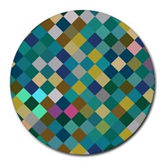 Rhombus Pattern In Retro Colors Round Mousepad by LalyLauraFLM
