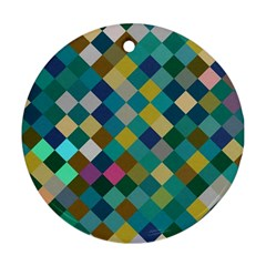 Rhombus Pattern In Retro Colors Ornament (round) by LalyLauraFLM