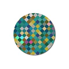 Rhombus pattern in retro colors Magnet 3  (Round) by LalyLauraFLM