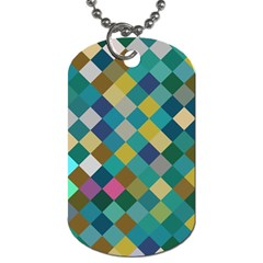 Rhombus Pattern In Retro Colors Dog Tag (two Sides) by LalyLauraFLM