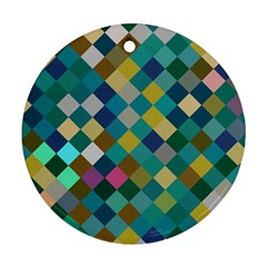 Rhombus Pattern In Retro Colors Round Ornament (two Sides) by LalyLauraFLM