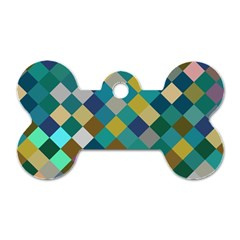 Rhombus pattern in retro colors Dog Tag Bone (Two Sides) by LalyLauraFLM