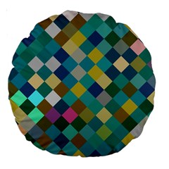 Rhombus Pattern In Retro Colors Large 18  Premium Round Cushion  by LalyLauraFLM