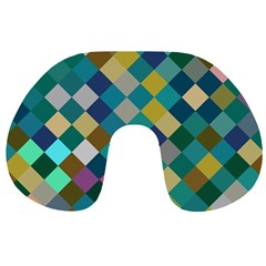 Rhombus Pattern In Retro Colors Travel Neck Pillow by LalyLauraFLM