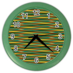 Diagonal Stripes Pattern Color Wall Clock by LalyLauraFLM
