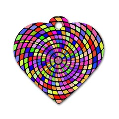Colorful Whirlpool Dog Tag Heart (one Side) by LalyLauraFLM