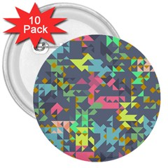 Pastel Scattered Pieces 3  Button (10 Pack) by LalyLauraFLM