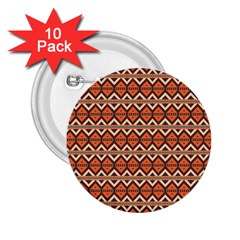 Brown Orange Rhombus Pattern 2 25  Button (10 Pack) by LalyLauraFLM
