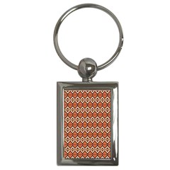 Brown Orange Rhombus Pattern Key Chain (rectangle) by LalyLauraFLM