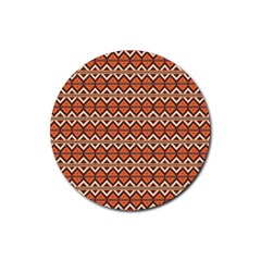 Brown Orange Rhombus Pattern Rubber Round Coaster (4 Pack) by LalyLauraFLM