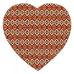 Brown Orange Rhombus Pattern Jigsaw Puzzle (heart) by LalyLauraFLM
