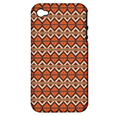 Brown Orange Rhombus Pattern Apple Iphone 4/4s Hardshell Case (pc+silicone) by LalyLauraFLM