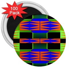 Distorted Shapes Pattern 3  Magnet (100 Pack) by LalyLauraFLM