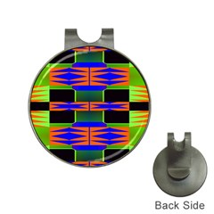 Distorted Shapes Pattern Golf Ball Marker Hat Clip by LalyLauraFLM