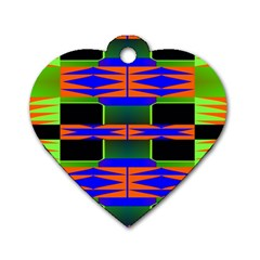 Distorted Shapes Pattern Dog Tag Heart (one Side) by LalyLauraFLM