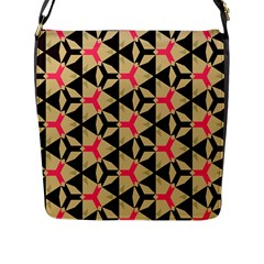 Shapes In Triangles Pattern Flap Closure Messenger Bag (l) by LalyLauraFLM